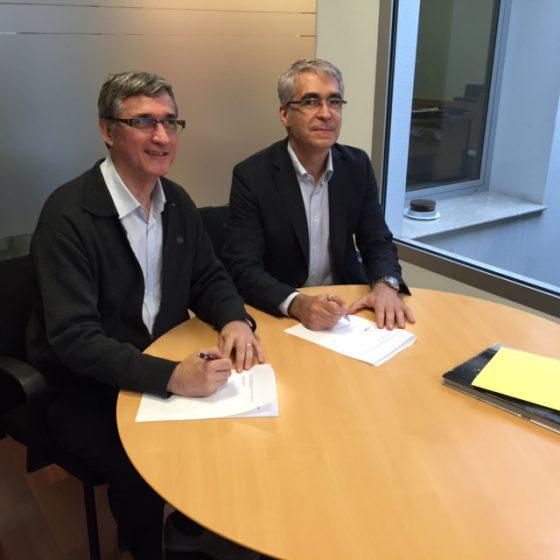 A la dreta, el Sr. Joan Ventura Ustrell, Conseller Delegat de ELYSIUS EUROPA S.L., i a l'esquerra, el Sr. Salvador Busquets.
